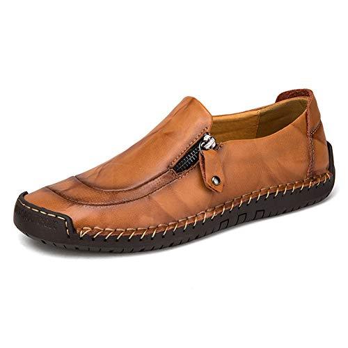 GPF-fei Herrenschuh Leder-Loafers Schuhe Driving Schuh Faule runden Zehenschuh Schuhe Peas Schuhe Comfortable Fashion Breathable Leisure,Black,44