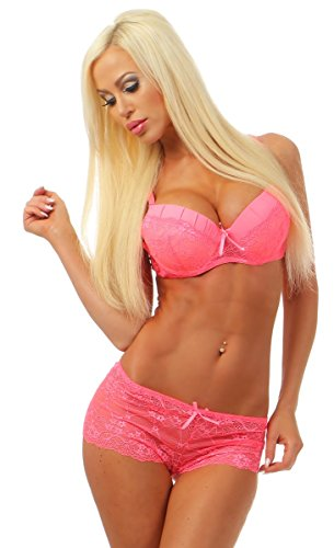 3965 Fashion4Young Dessous Set 2-teil. Bügel-BH + Panty Spitze Push-Up Unterwäsche Reizwäsche (neonpink, 85C) (Rosa Dessous Bh)