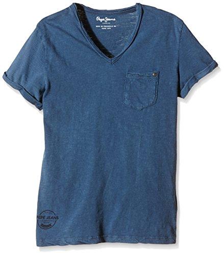 pepe-jeans-lev-t-shirt-uni-garon-bleu-midnight-fr-16-ans-taille-fabricant-m