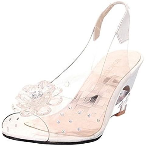 Hee Grand Mujer maedchen boehmen abierto sandalias de Peep Toe Flores Transparente Guantes niederig cuña Verano Sandalias Zapatos