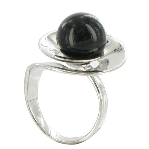 Les Poulettes Jewels - Flower Sterling Silver Ring - With Black Onyx Bead