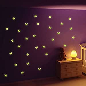 StickersWall Glow in The Dark Butterfly Wall Stickers
