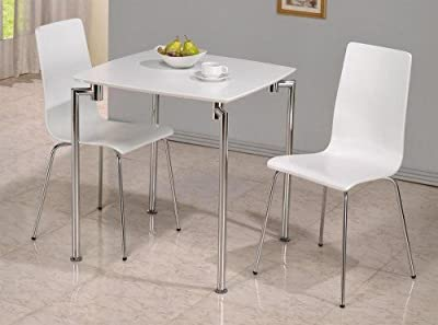 Fiji Small Dining Set - Table + 2 Chairs - White High Gloss & Chrome