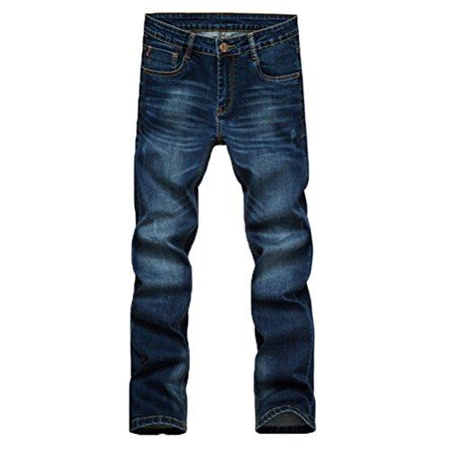 Zhuhaitf Casual Mens Slim Fit Pants Denim Jeans Washed Straight Leg Trousers Dark Blue