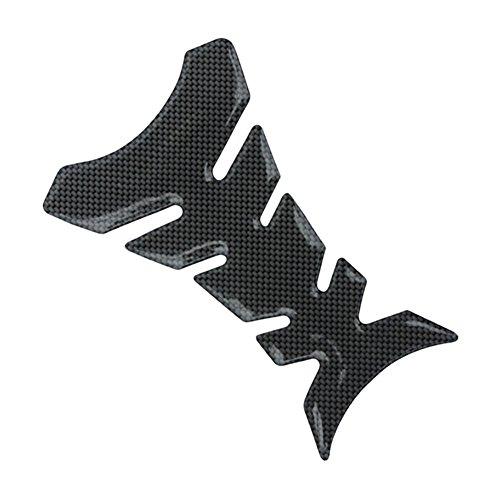 Soldmore7 en Caoutchouc Noir Tank Pad Protector, Fibre de Carbone 3D Look pour Moto Sport Autocollant du réservoir de Carburant gaz Cap Pad de Protection Coque Autocollant, Noir