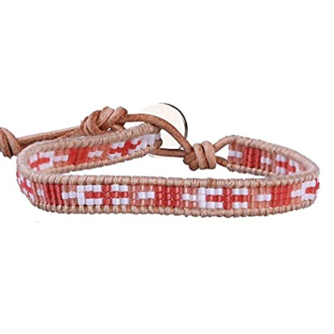 KELITCH Angleterre Drapeau Traverser Motif Rouge Orange Perles de Rocaille Cuir Bracelet