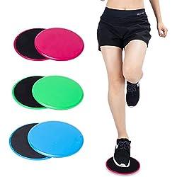 xnbnsj 2 Discos deslizantes de Fitness para coordinación de Habilidad, Ejercicio, Deslizador para Entrenamiento de Cuerpo Completo, Verde