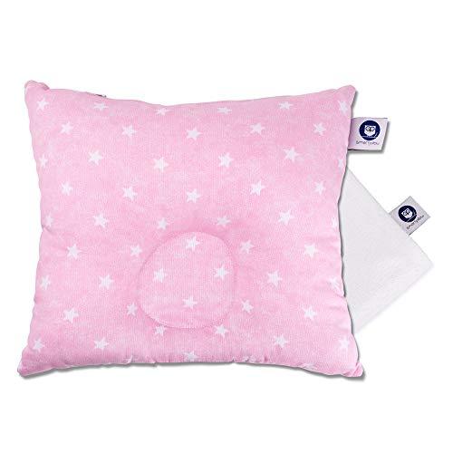 Smartpillow Baby Kissen gegen Kopfverformung I mit Bezug I Kopfkissen für Plattkopf I Babykissen gegen Verformung rosa