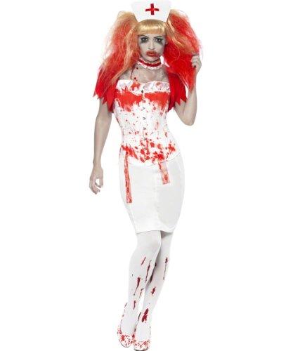 Nurse Costume, Farbe:Weiss - Rot;Größe:S (Smiffys Kostüme Größentabelle)