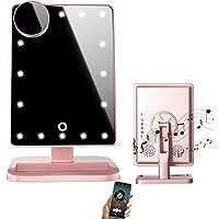 Espejo de maquillaje LED Bluetooth con pantalla táctil y aumento de 10x, Bluetooth inalámbrico + manos libres y cargador USB, espejo LED (rosa)