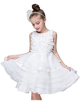 WanYang Vestido De Novia De Encaje Princesa Fiesta Ceremonia Boda Bautizo Para Niña Fiesta Cuello Redondo Sin...