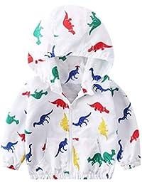 Chaqueta Corto de Bebés Niños con Capucha Abrigo de Niñas con Estampado Dinosaurio de Otoño Primavera Chaqueta Casual Gabardina Manga Larga 18M-6 Años Gusspower