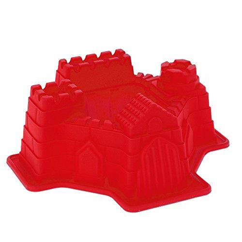 Backform Burg, Ritterburg Burgbackform Schlossbackform Motivbackform, Silikon, ca. 21 x 19.5 x 7.5 cm, rot