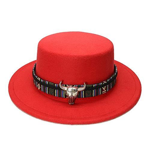 XACQuanyao Lässige Pork Pie Porkpie Bowler Cap Männer/Frauen mit Kuh Kopf Leder Band Vintage Wolle Breiter Krempe Hut (57 cm/Adjusted) (Farbe : Rot, Größe : 57-58CM)
