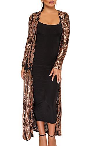 JackenLOVE Frühling Herbst Damen Lang Cardigan Fashion Pailletten Tüll Tops Kimono Outwear Freizeit Langarm Oberteile Strickjacke Bluse