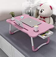 Bed Table,Foldable Bed Desk,Portable Standing Bed Tray - With Ipad Holder Cup Slot Adjustbale Anti-slip Notebo