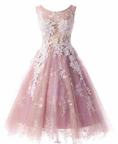 Changjie Damen Elegant T¨¹ll Abendkleider Kurz F¨¹r Hochzeit SpitzeApplique A-Linie Abiballkleid...