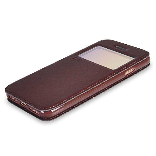 UKDANDANWEI iPhone 6 Plus / 6s Plus [Rr] Hülle Case - Magnetisch Leder Tasche Flip Case Cover Schutzhülle Etui Hülle Schale mit Fenster Ansicht Für iPhone 6 Plus / 6s Plus - Braun Braun