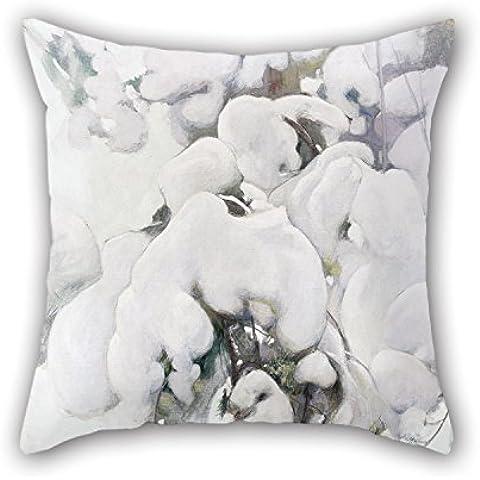 loveloveu pintura al óleo Pekka Halonen–Cubiertas de nieve Árboles de Pino manta fundas de almohada de 16x 16