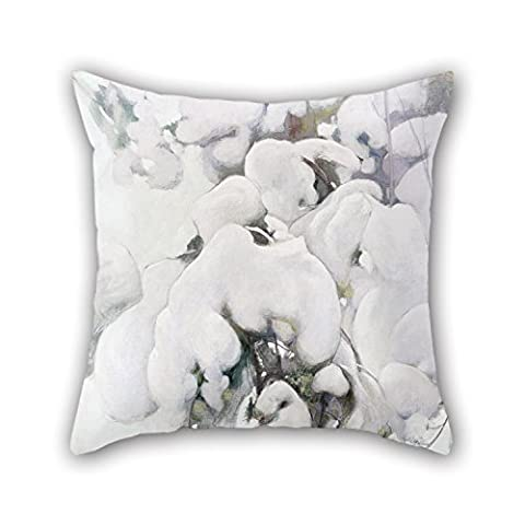 Uloveme Oil Painting Pekka Halonen - Snow-Covered Pine Saplings Throw Pillow Case ,best For Father,coffee House,him,christmas,monther,wife 18 X 18 Inches / 45 By 45 Cm(double