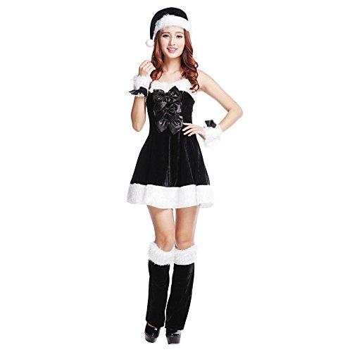 santa claus cosplay weihnachten verkleiden kostüme hut gürtel Christmas (SD030 black) (Black Santa Claus Kostüm)