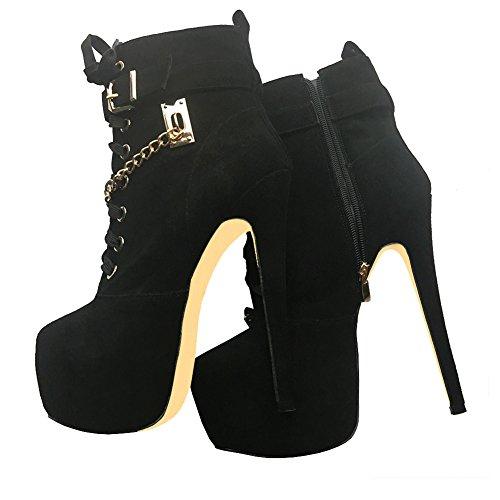 MERUMOTE Damen YB-056 Versteckte Plattform High Heels Schuhe Ankle Booties Mit Dekoration Metallic EU 35-46 Schwarz