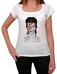 David Bowie eccentric grey, tee shirt femme, imprimé célébrité, Blanc, t shirt femme,cadeau