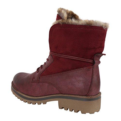 napoli-fashion Warm Gefütterte Damen Stiefeletten Outdoor Boots Kunstfell Stiefel Jennika Dunkelrot