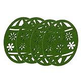 Baoblaze 4X Filzuntersetzer Glasuntersetzer Tassenuntersetzer Tischuntersetzer mit Ostereier Design, Grün
