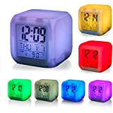 VMONI Digital Alarm Clock for Bedroom,Students,Heavy Sleepers with 7 Colour Changing LED Digital Alarm Clock with Date, Time, Temperature for Office and Bedroom
