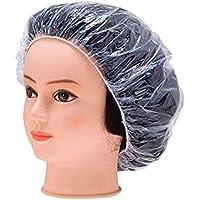 DDG EDMMS 100pcs Wegwerfduschhaube wasserdicht transparenten Kunststoff-Duschhaube elastische Haarkappe Haushaltswaren