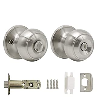 Probrico Stainless Steel Lock Set Privacy Keyless Interior Door Knobs For Bedroom