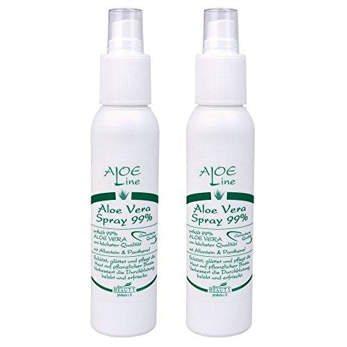 ALOE Line Aloe Vera SPRAY 99% (2x100ml) mit Panthenol und Allantoin ist unerlässlich für PFLEGE von HAUT und HAAR - IASC zertifizierter Rohstoff aus kontrolliert biologischem Anbau - QUALITÄT mit uneingeschränkter Zufriedenheitsgarantie - ohne Duft- und Farbstoffe, ohne Parabene, ohne Mineralöl - Made in Germany