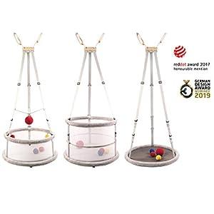 Memola® Home: 3 in 1 Babywiege Babyschaukel Wiege Laufstall Schaukel Hängewiege Federwiege Wiegenset für Tag und Nacht auch für Zwillinge und Frühchen sehr gut geeignet inkl. komplettem Zubehör