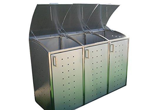 Mülltonnenbox für drei 240 Liter Mülltonnen, Modell Milbo aus Edelstahl - 2