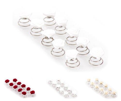 Épingles en spirale ornées de roses - accessoire pour cheveux/coiffure de mariée - 10 pièces - blanc