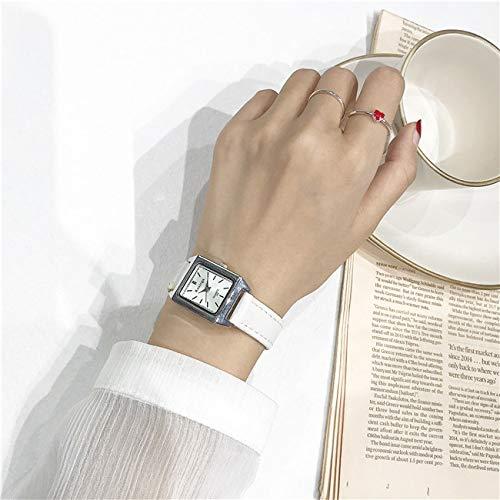 Kleine quadratische Uhr weibliche Uhr Mode Uhr quarzuhr Weißer Gürtel weißer Teller