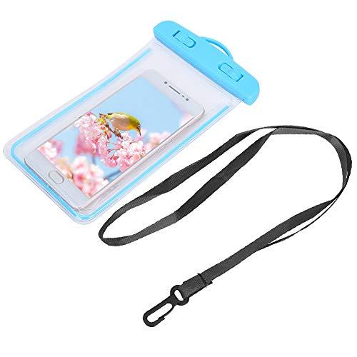 Pangding Bolso seco Impermeable del teléfono Celular, Funda Transparente Universal para el teléfono de natación Estuche Submarino para natación Navegación Snorkel Surf(Azul)