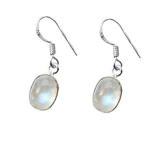 En argent Sterling 925 avec pierre de lune Fishhook de lampe ovale-Boucles d'oreilles le Healing Gemstone cm