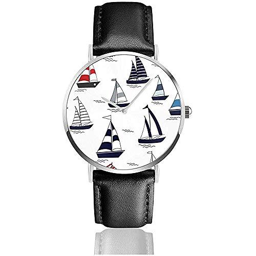 Relojes De Pulsera Quartz Marine Cartoon Boats On Boat. Relojes De Pulsera con Correa De Cuero Reloj...