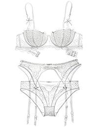 6a59b1f91ee64 Womens Sexy Lingerie Set Plus Size Lace Underwear Bra +Transparent Panties  +Garters Set 3