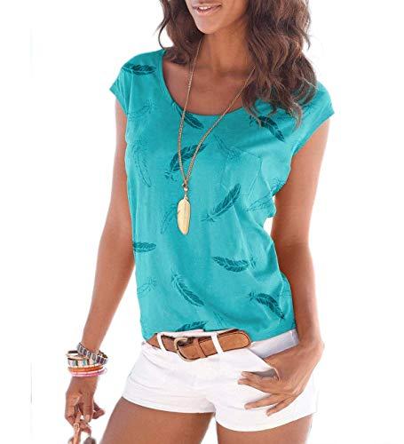 Fleasee Damen T-Shirt Kurzarm Bluse Locker Ärmelloses Top Lässig Sommer Tee mit Allover-Sternen und Anker Druck-M-Leicht Blau-feder