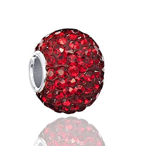 MATERIA Kristall Beads Anhänger dunkelrot mit Strass Steinen und 925 Silber Hülse 10x12mm #1539 - Silber Hülse Kugel Mit