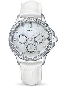 Time100 Damenuhr Leder Band dekoratives Zifferblatt mit Strass Armbanduhr Quarz Analog Uhr Weiß #W70135L.01A
