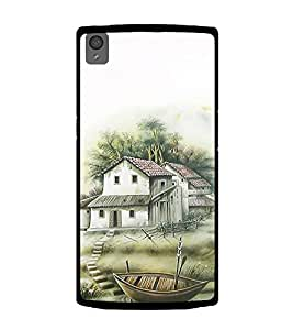 PrintVisa Designer Back Case Cover for OnePlus X :: One Plus X (Painting of House in the River Boat)