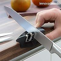 InnovaGoods Kitchen Cookware Afilador de Cuchillos Compacto, ABS, tungsterno, Acero y cerámica