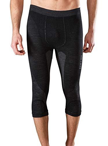 Merino & More Herren Funktionsunterwäsche Merinowolle - Premium Funktions-Hose 3/4 lang - Sport-Unterhose schwarz-grau Gr. S