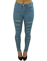 CelebLook Mid Rise Denim Ripped Frayed Jeans