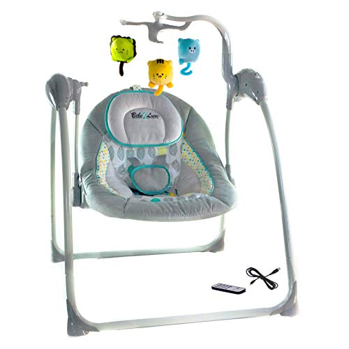 Elektrische Babyschaukel Automatische Baby Wiege Wippe LILOU (Fernbedienung, MP3-Player via USB, Netzadapter) (grau)