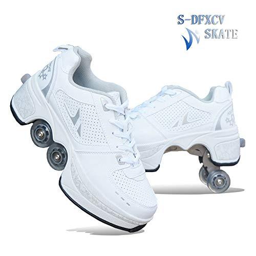 SDFXCV Inline-Skates 2-in-1-Mehrzweckschuhe Rollschuhe Multifunktionale Verformungsschuhe Quad-Skate-Outdoor-Skating-Wanderschuhe, Geeignet Für Erwachsene Und Kinder,White-41